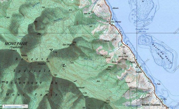 Réserve spéciale botanique du Mont Panié - Carte Geoportail.fr