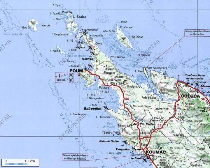 Situation de Poum -Province Nord - Nouvelle Calédonie (Géoportail)